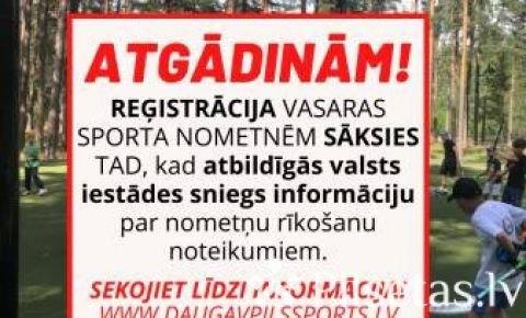 Reģistrācija vasaras sporta nometnēm Daugavpilī