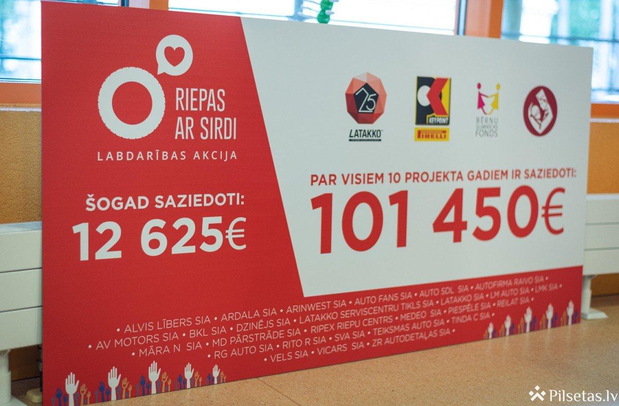 """""""Riepas ar sirdi"""": 10 gadu laikā Bērnu klīniskajai universitātes slimnīcai saziedots vairāk par 100 tūkstošiem eiro"""