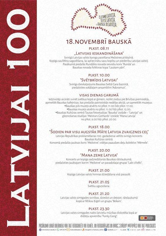 Latvijas valsts simtgades norises Bauskā