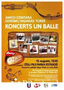 Amigo Dzintara dziesmu vasaras tūres koncerts un balle Cēsu Pils parka estrādē