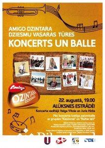 Amigo Dzintara dziesmu vasaras tūres koncerts un balle Alūksnes Pilssalas estrādē