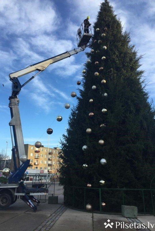Jelgavas pilsētas galvenā egle sāk rotāties ar dekoriem